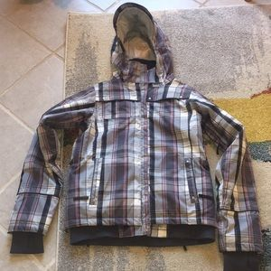 686 snowboard jacket S small pink grey plaid